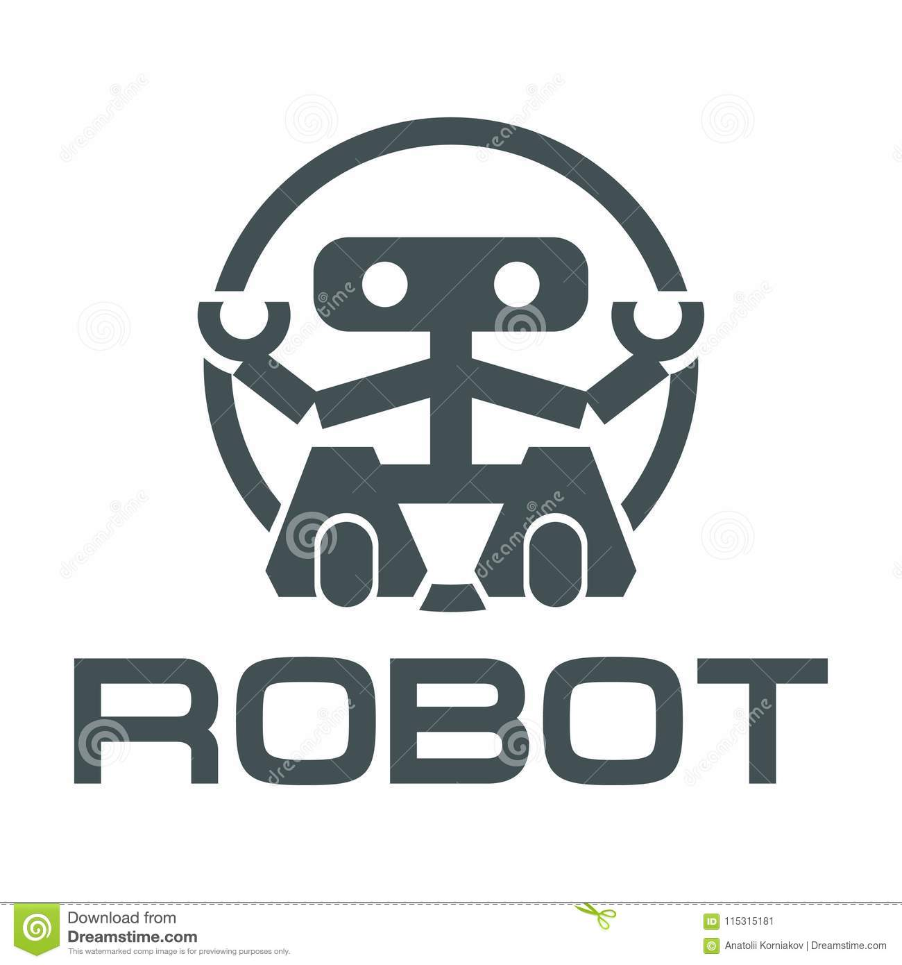 Robot Logo For Design Stock Vector Illustration Of Background