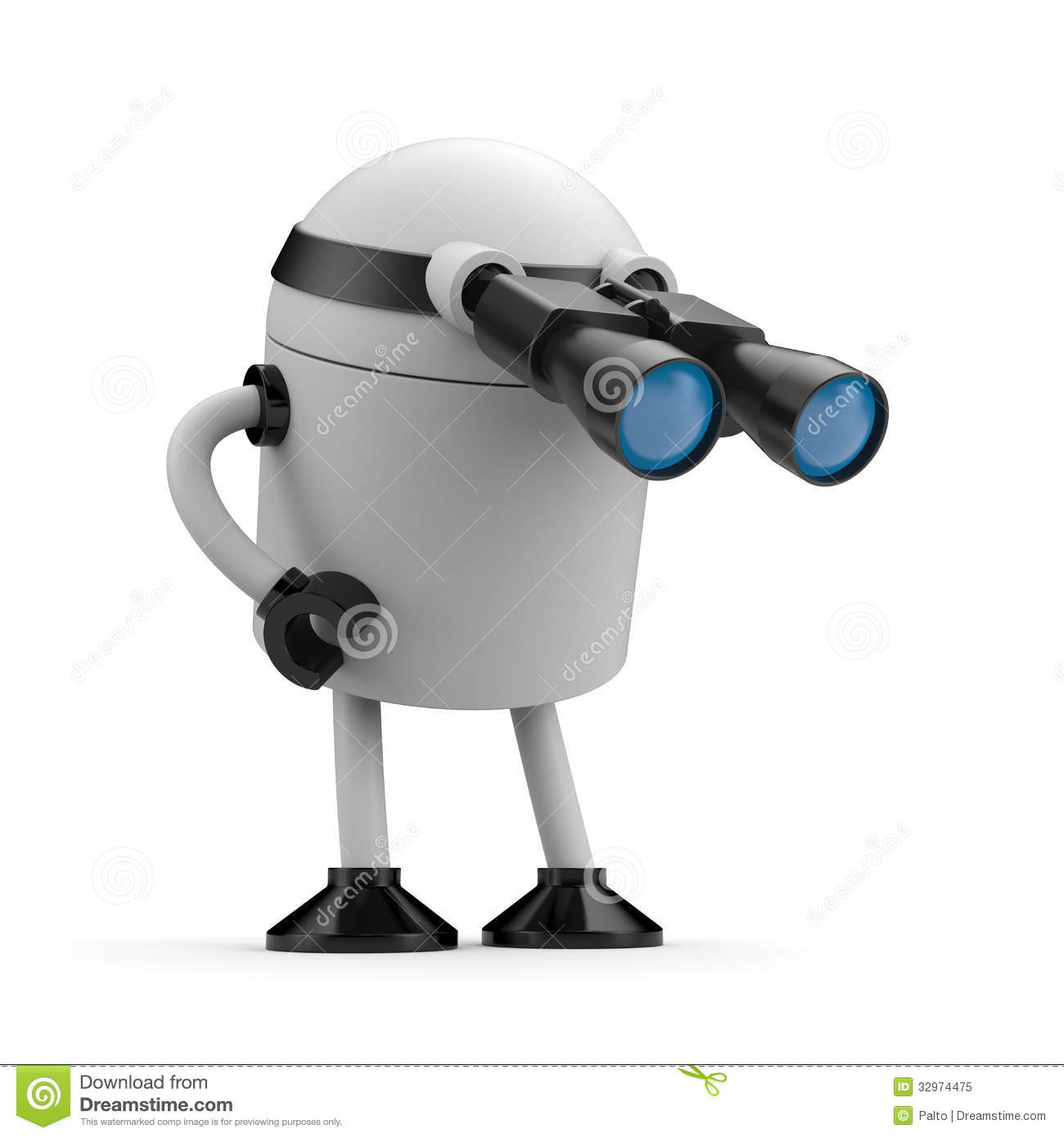 Robot Looks In Binocular Royalty Free Stock Photo - Image ...