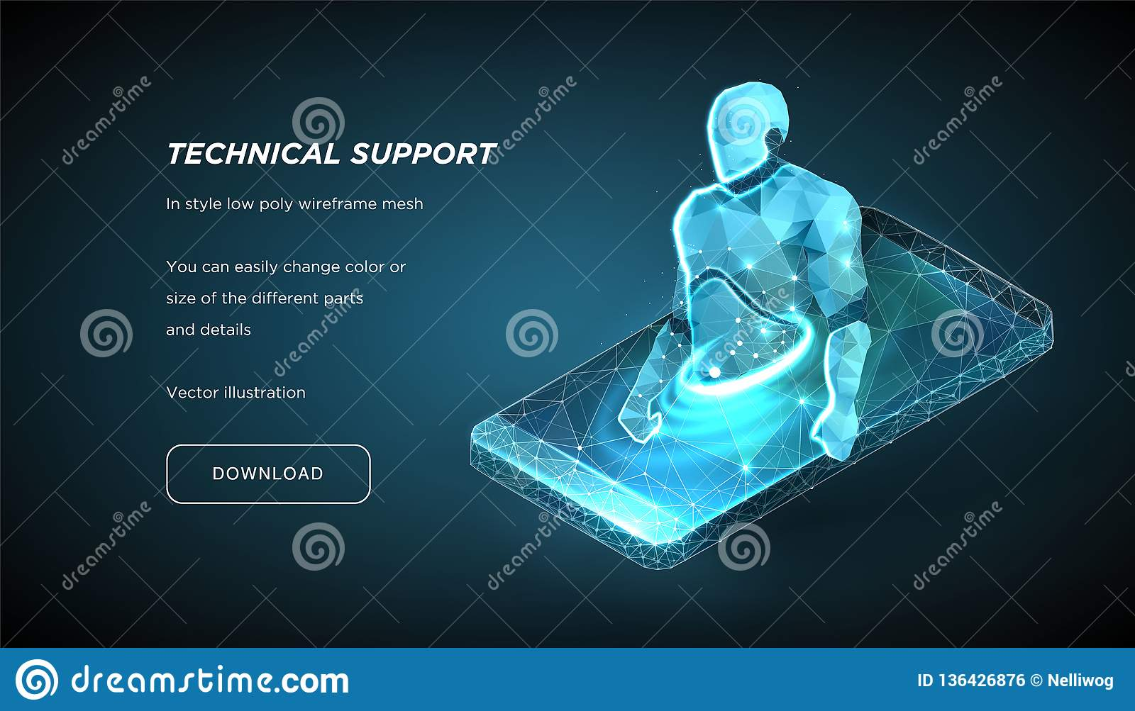 Robot of the low poly wireframe on dark background.Concept of online help or consultation. Chat bot. Education online. Vector 3d