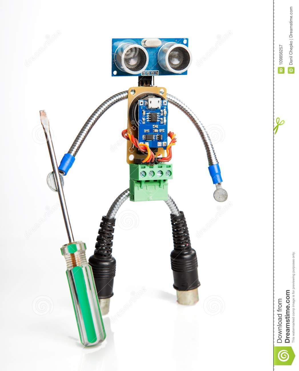Robot Made Of Parts Circuit Boards Isolate On White Stock Image Board