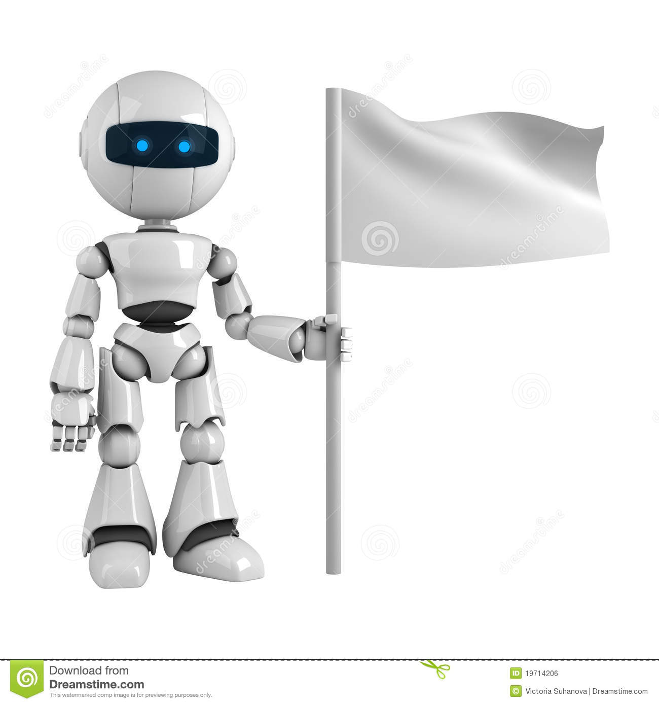 Robot Man And Blank Flag Royalty Free Stock Image Image