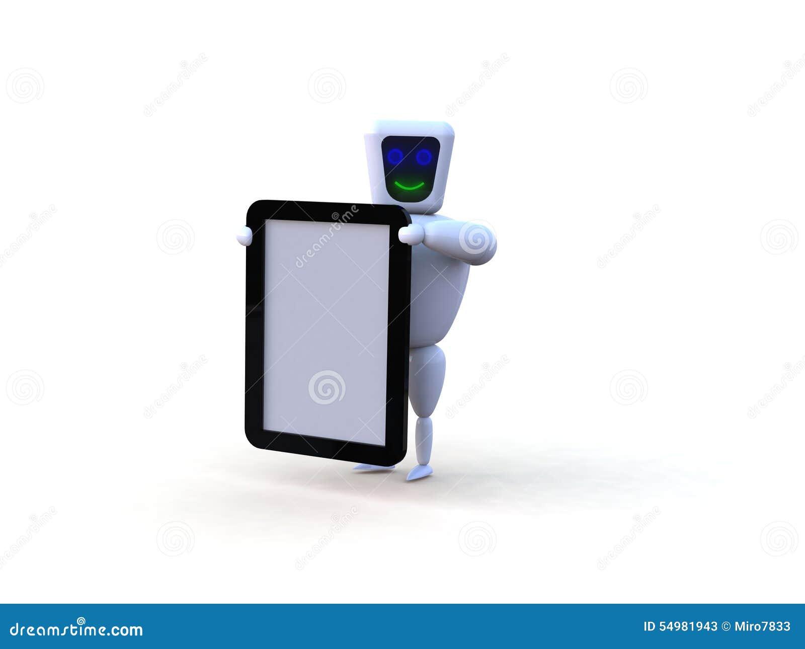 Robot med den mobila minnestavlaapparaten