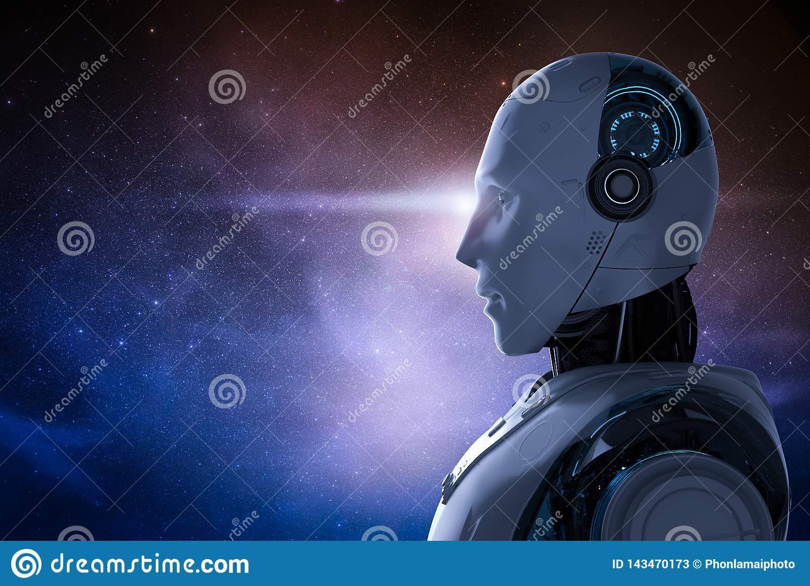 Robot met kosmische ruimte