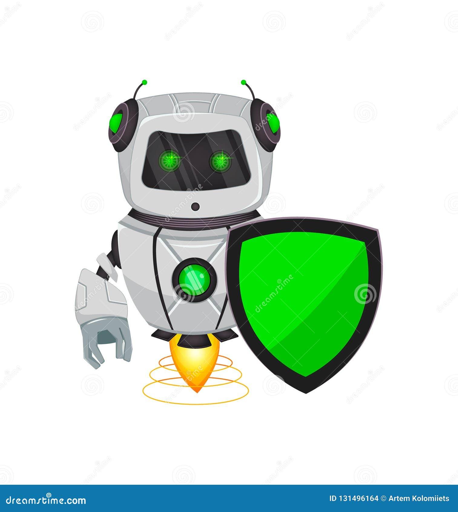 Robot met kunstmatige intelligentie, bot Het grappige beeldverhaalkarakter houdt groen schild Humanoid cybernetisch organisme Toe
