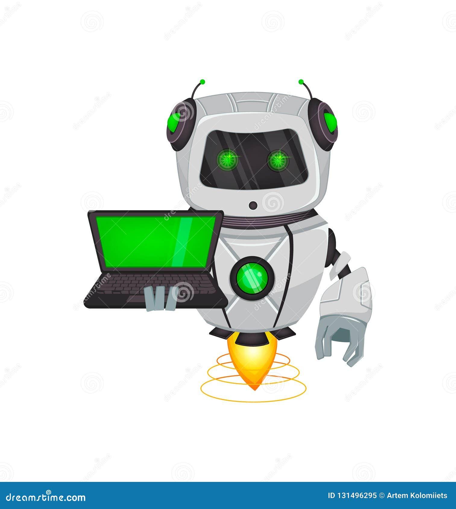 Robot met kunstmatige intelligentie, bot Het grappige beeldverhaalkarakter houdt laptop Humanoid cybernetisch organisme Toekomsti