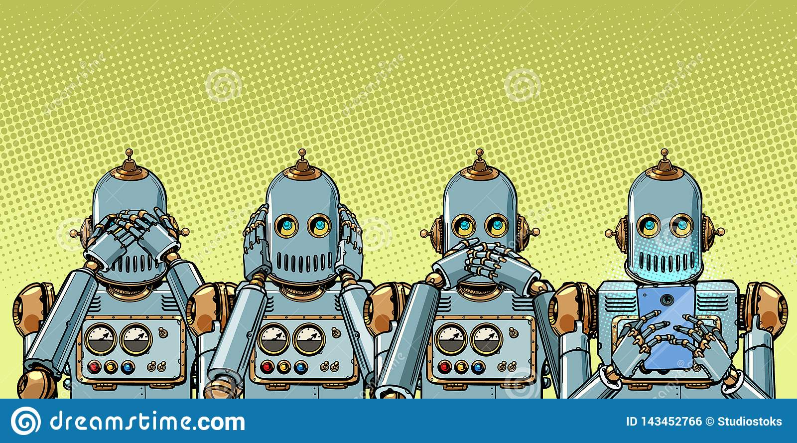 Robot met telefoon, Internet-verslavingsconcept zien niet horen zeg