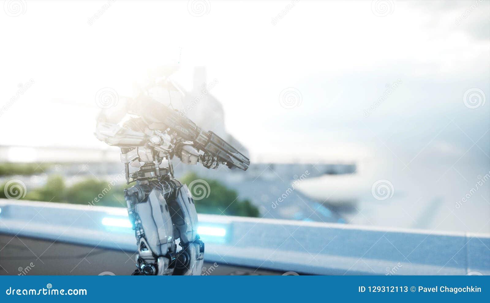 Robot militaire avec la marche d arme à feu Ville futuriste, ville rendu 3d