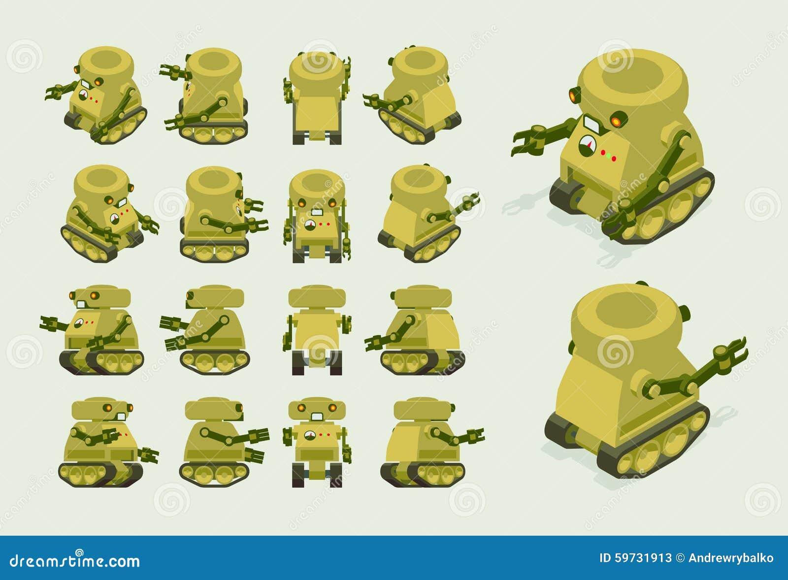 Robot militaire kaki isométrique sur des voies de chenille