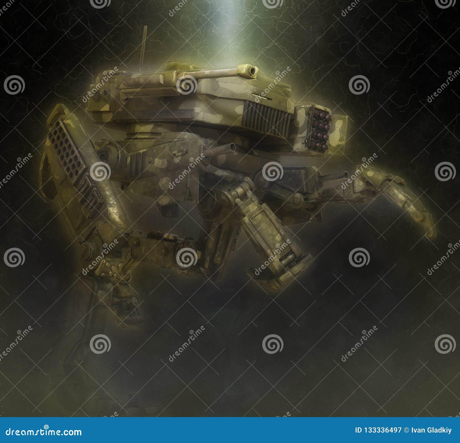 Robot militar ejemplo 3d en un fondo oscuro fantástico