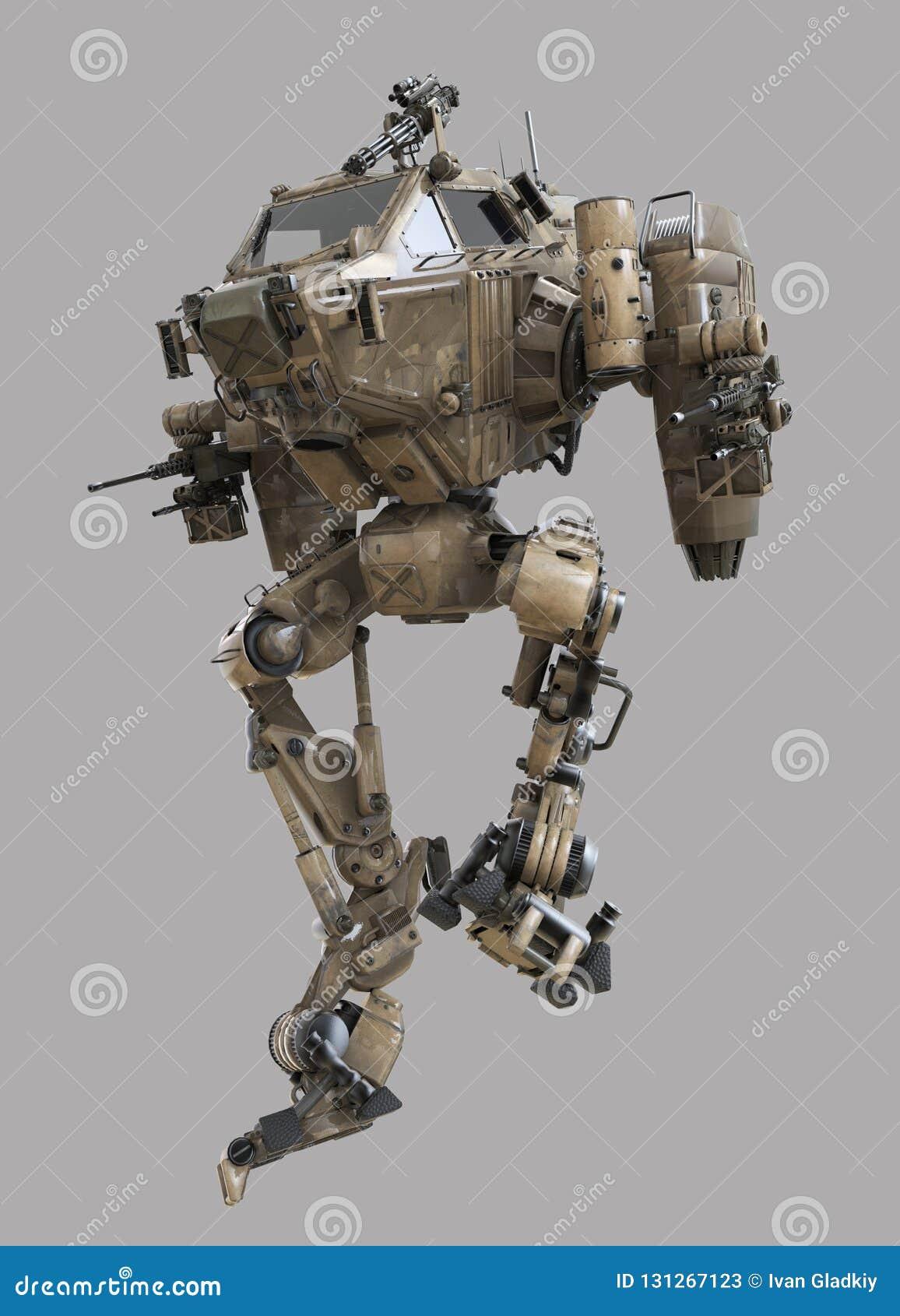 Robot militare illustrazione 3d isolata su fondo grigio