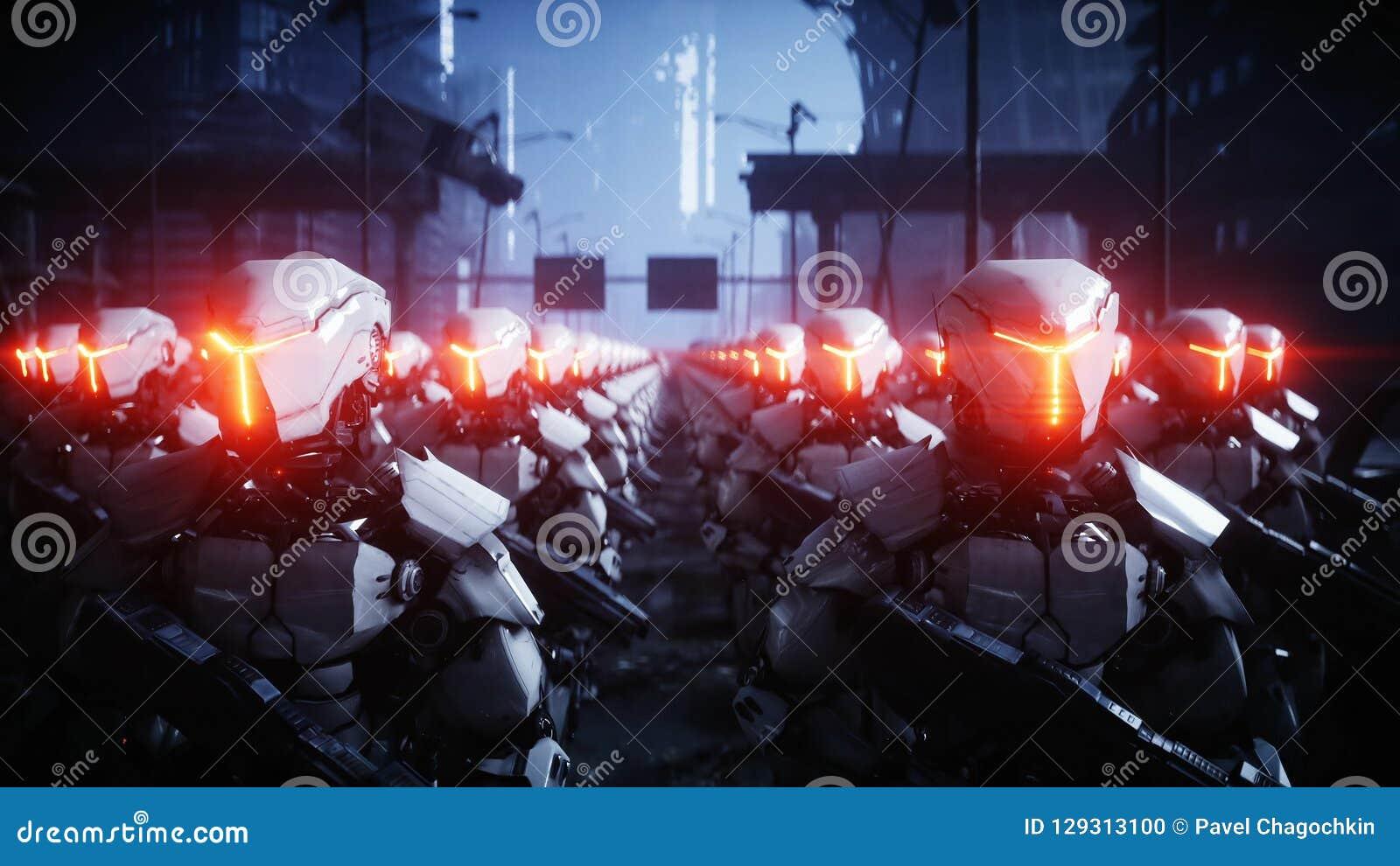 Robot militari di camminata Invasione dei robot militari Concetto realistico eccellente di apocalisse drammatico futuro rappresen