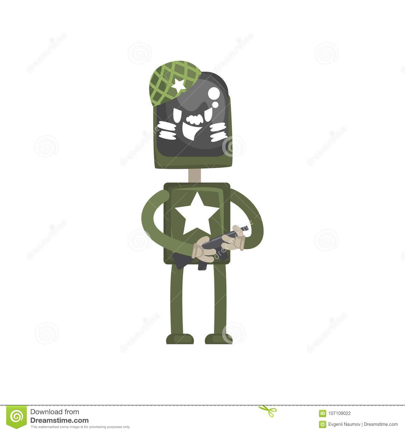Robot military character, android in green uniform standing with automatic machine in its hands cartoon vector