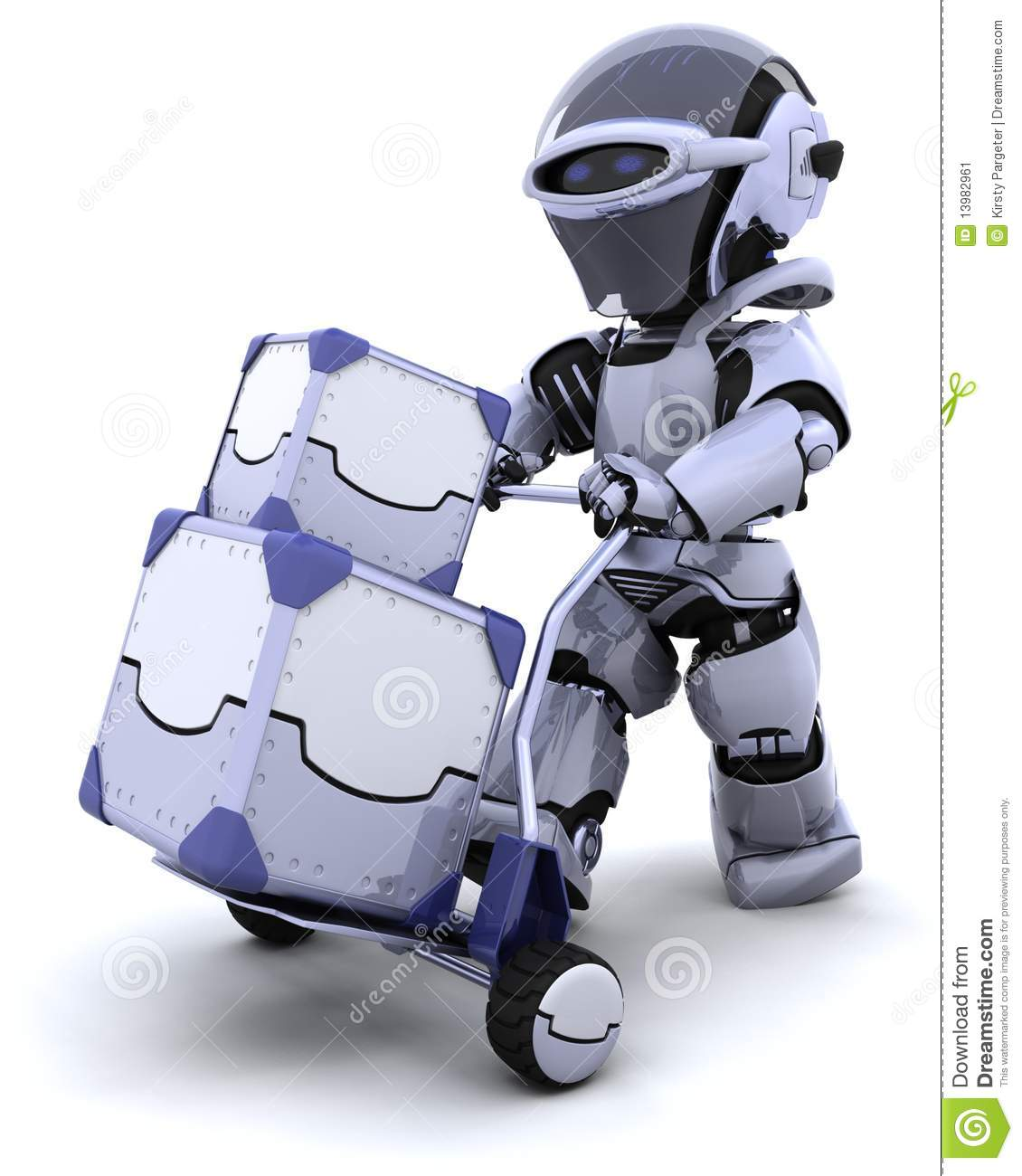 Robot moving shipping boxes royalty free stock photography - Moviendo perchas ...