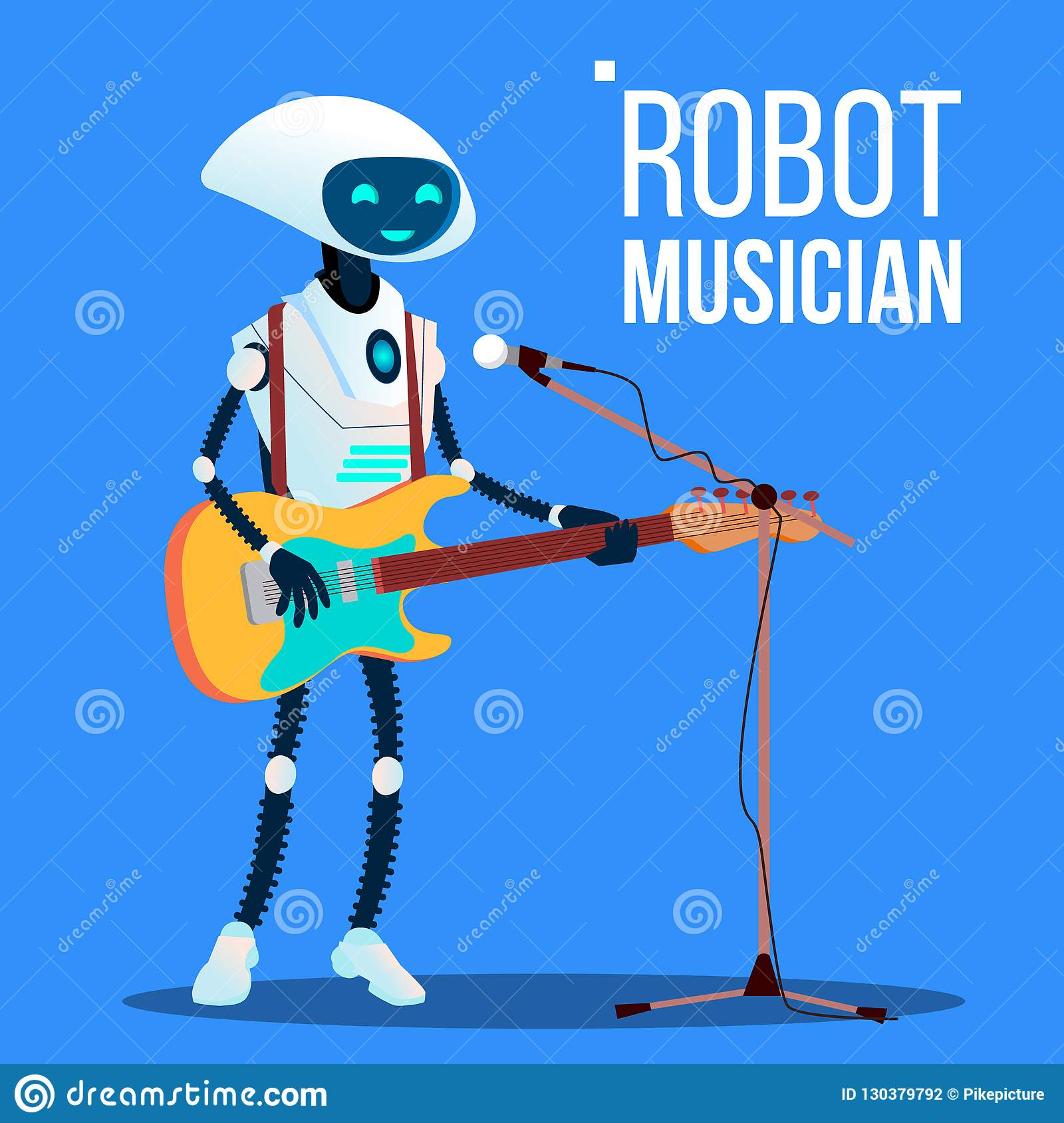 Robot Musician Playing Guitar And Singing Into Microphone Vector. Isolated Illustration