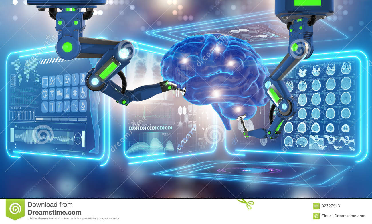 The robot performing surgery on head brain