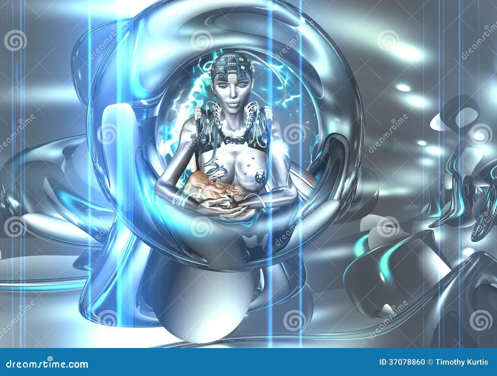 Download Robot pielęgnuje dziecka. ilustracji. Ilustracja złożonej z błękitny - 37078860