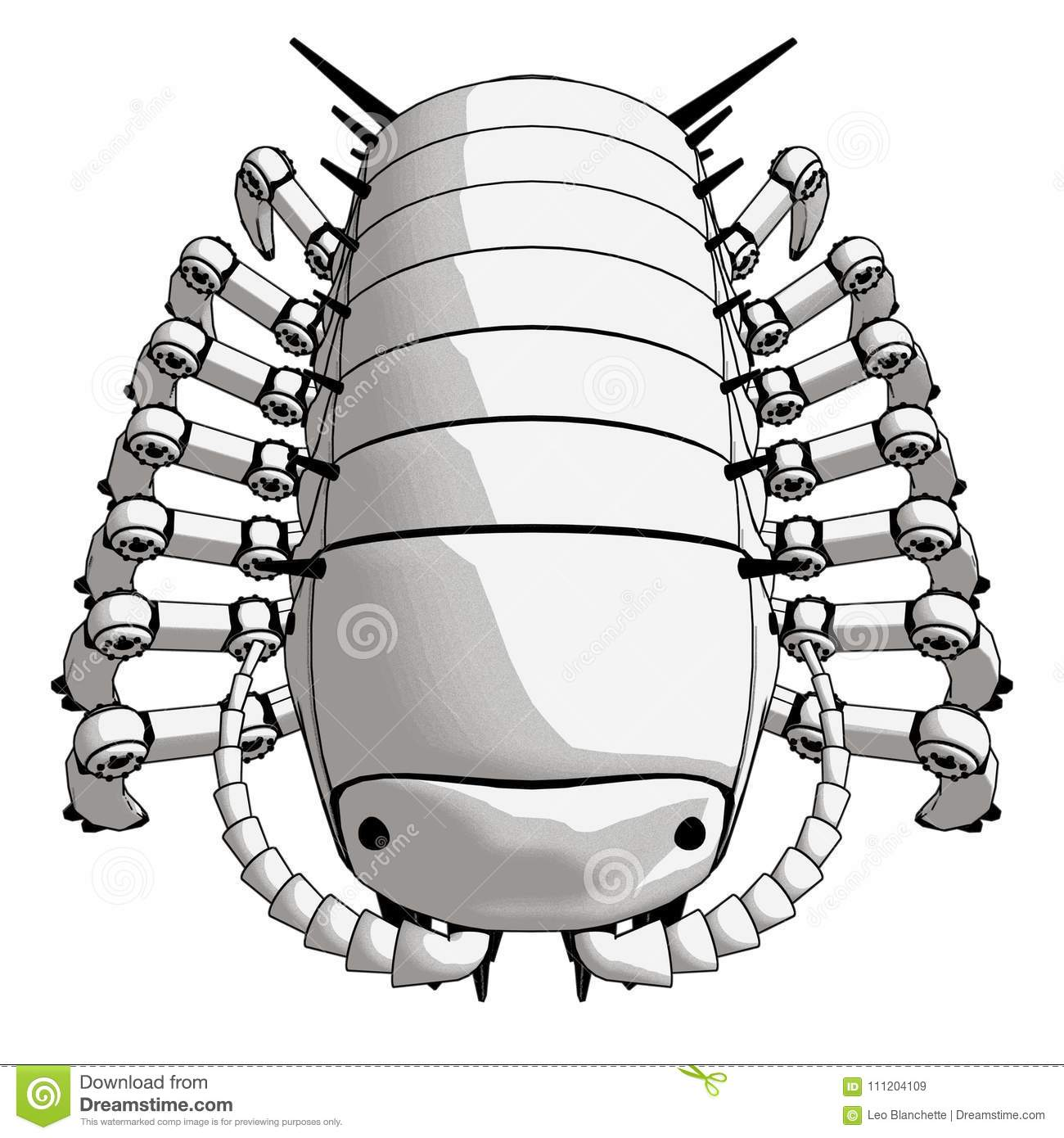 Robot Pillpug Top Front View Stock Illustration