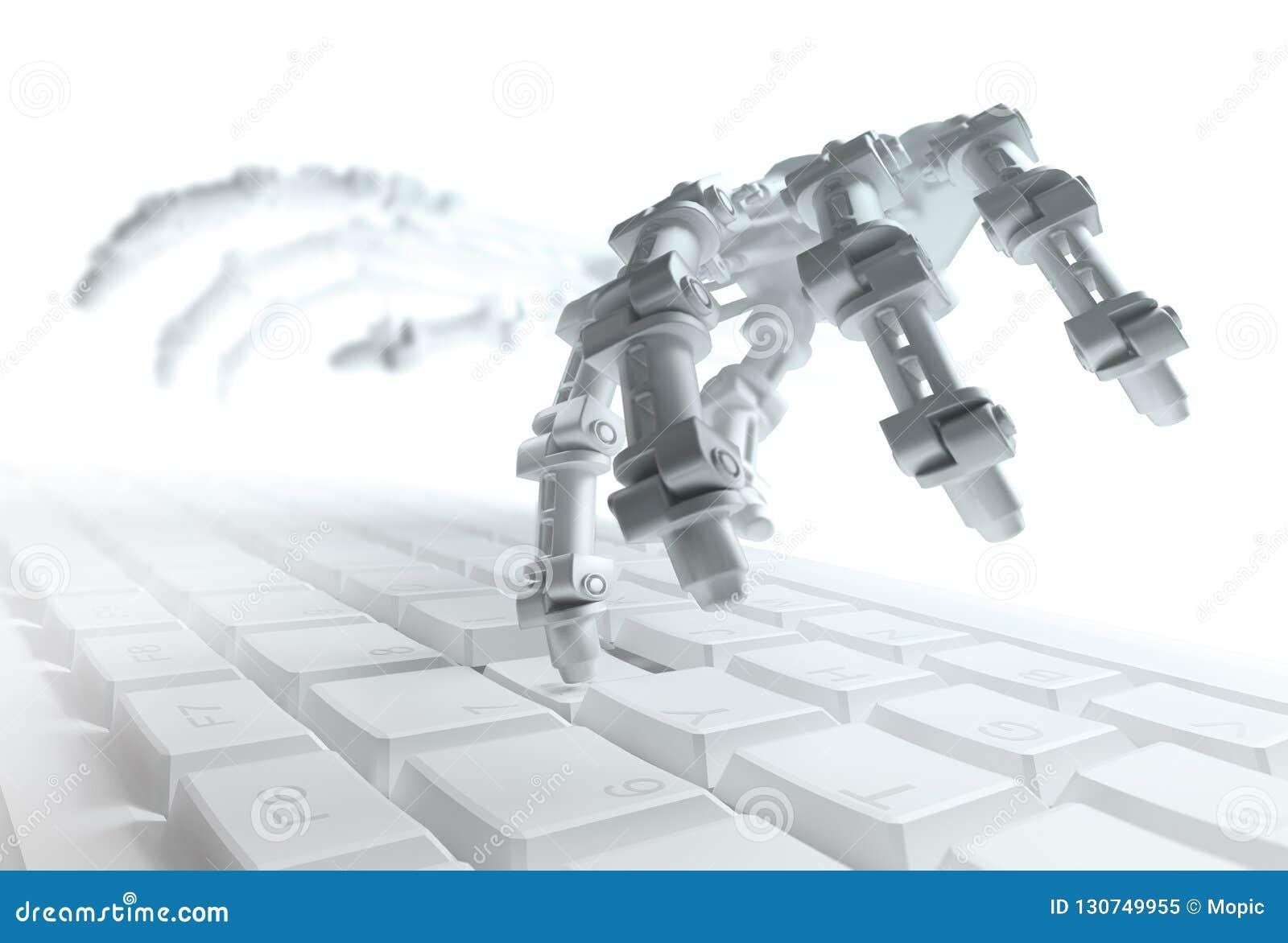 Robot pisać na maszynie na komputerowej klawiaturze