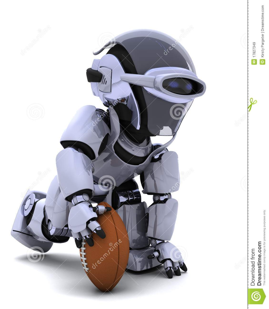 robot playing american football royalty free stock images