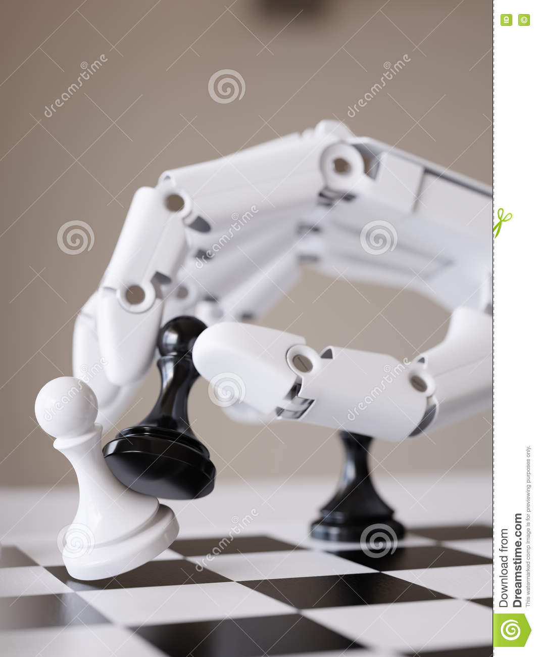 Robot Playing Chess 3d Illustration Artificial Intelligence Concept
