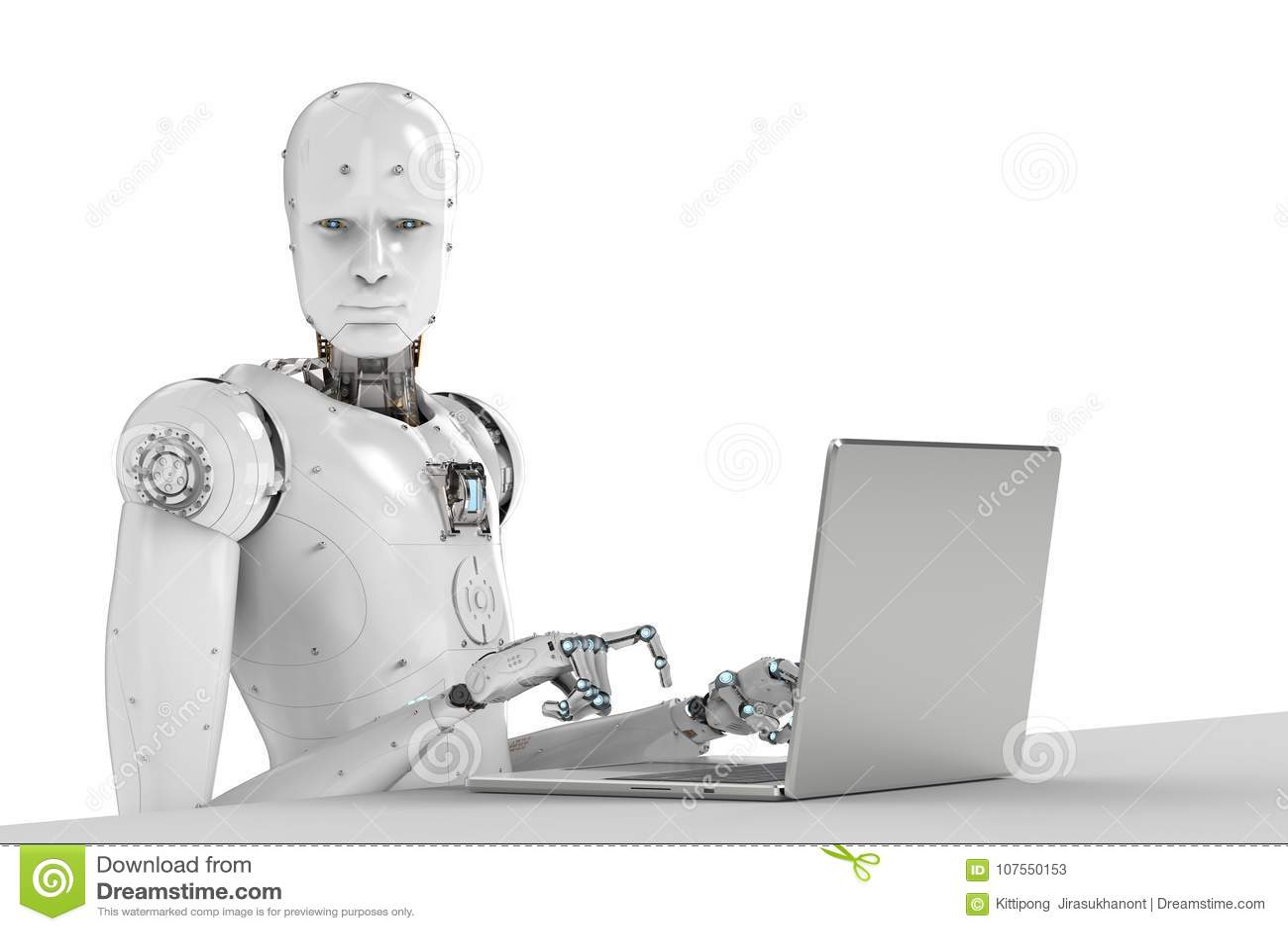 Robot praca na laptopie