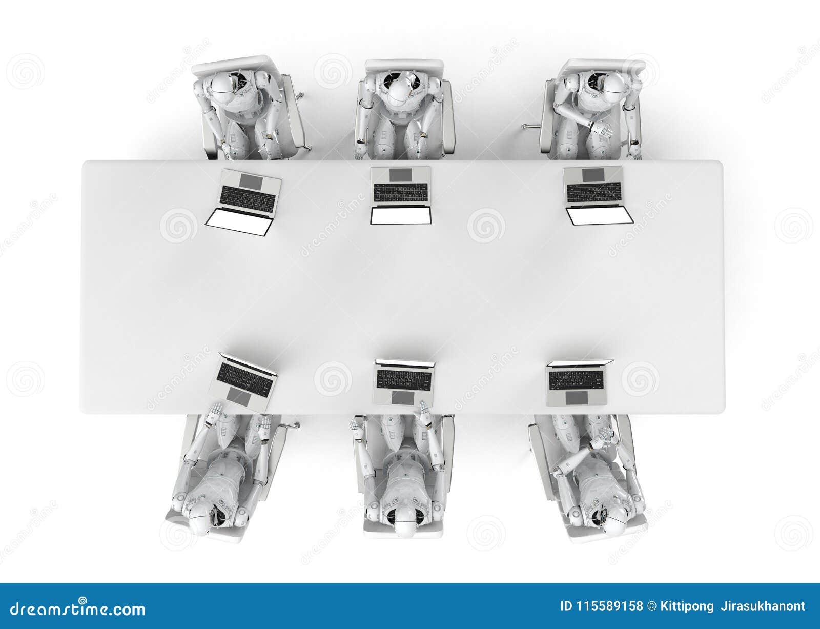 Robot praca z laptopem
