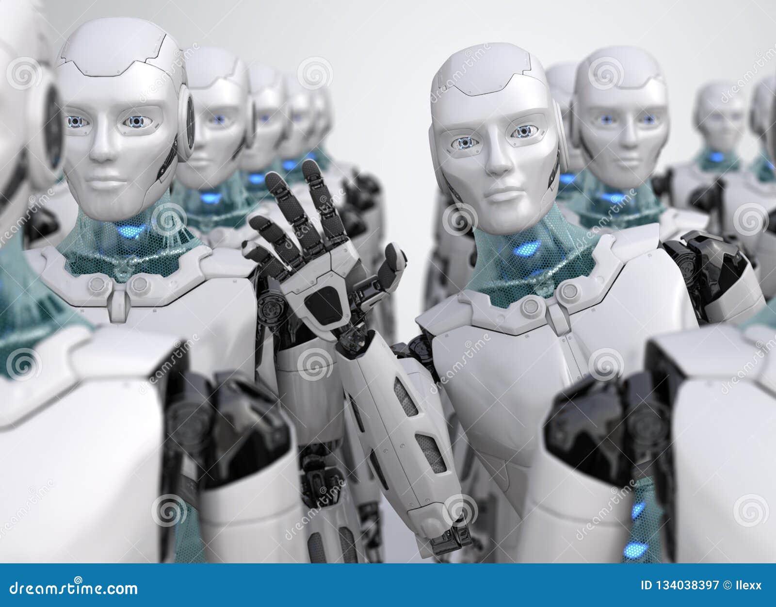 Robot que mira furtivamente hacia fuera de la muchedumbre