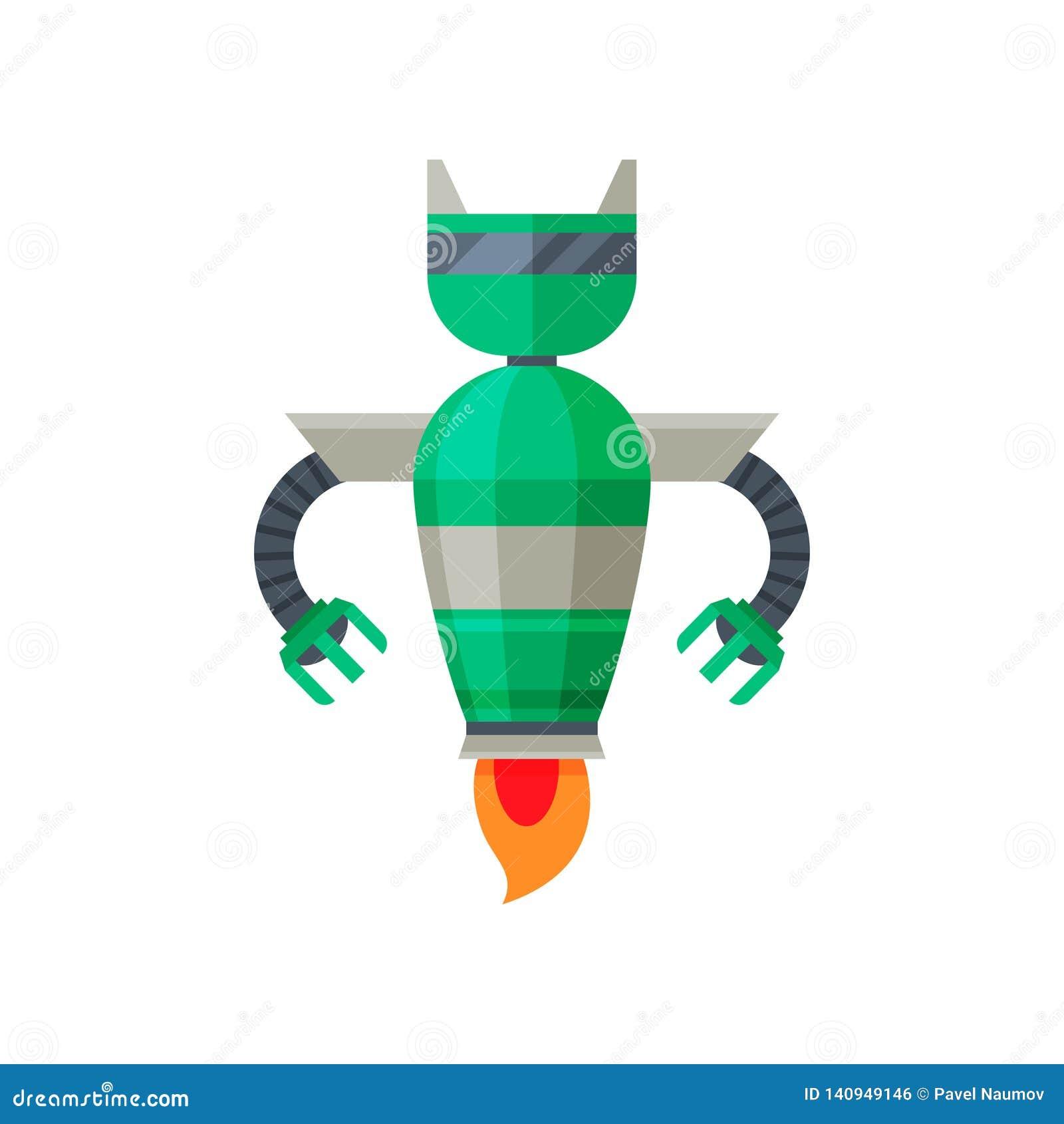 Robot que vuela verde con el motor a reacción Androide de acero futurista Vector plano para el cartel de la tienda o del videojue