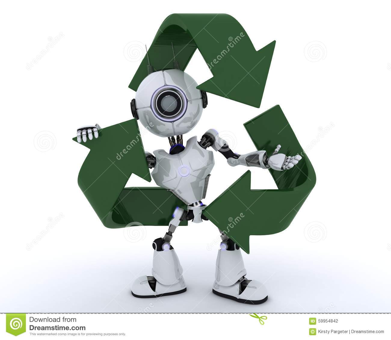 Robot with recycling symbol