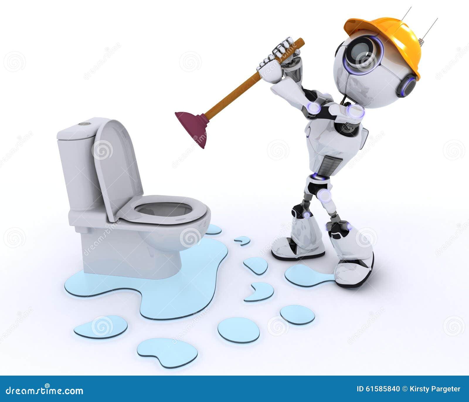 Robot Robot Plumber Fixing A Leak Stock Illustration