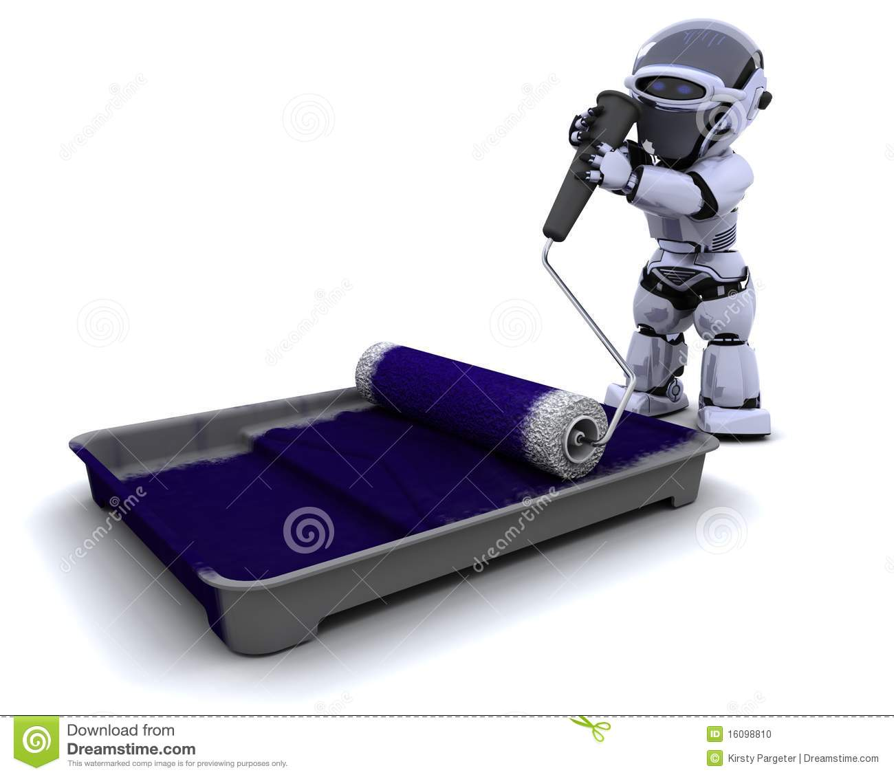 Robot with roller and paint tray stock illustration for 3d kuchenplaner roller