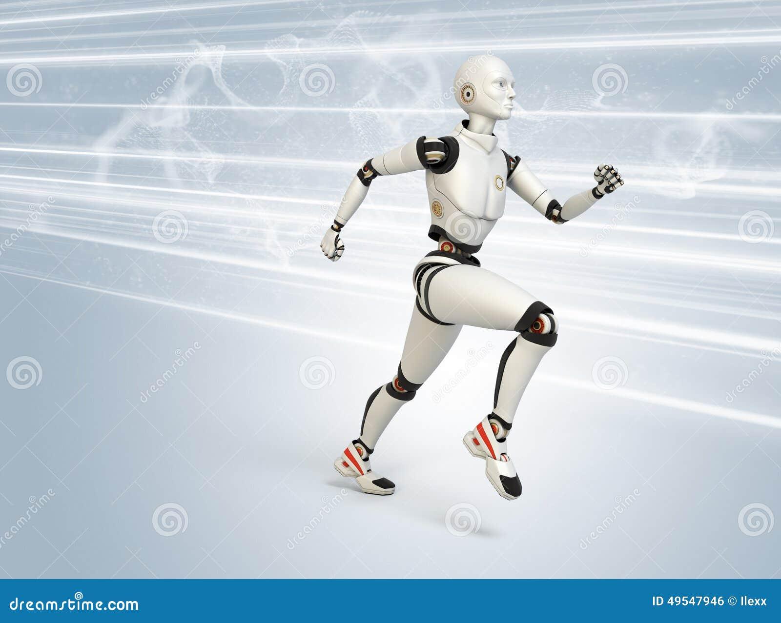 robot running at high speed stock illustration