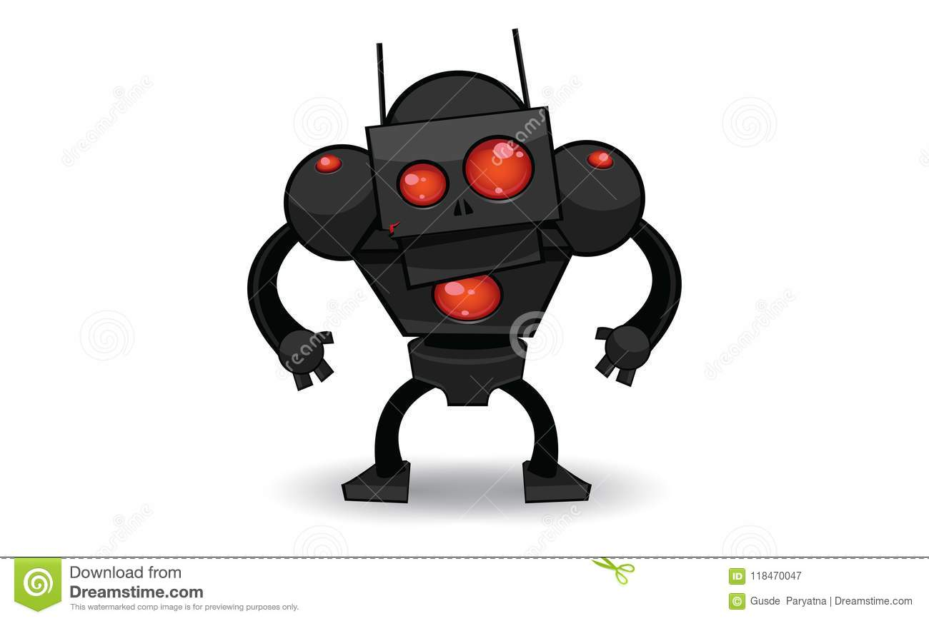 Download Scary Robot stock vector. Illustration of clip, color - 118470047
