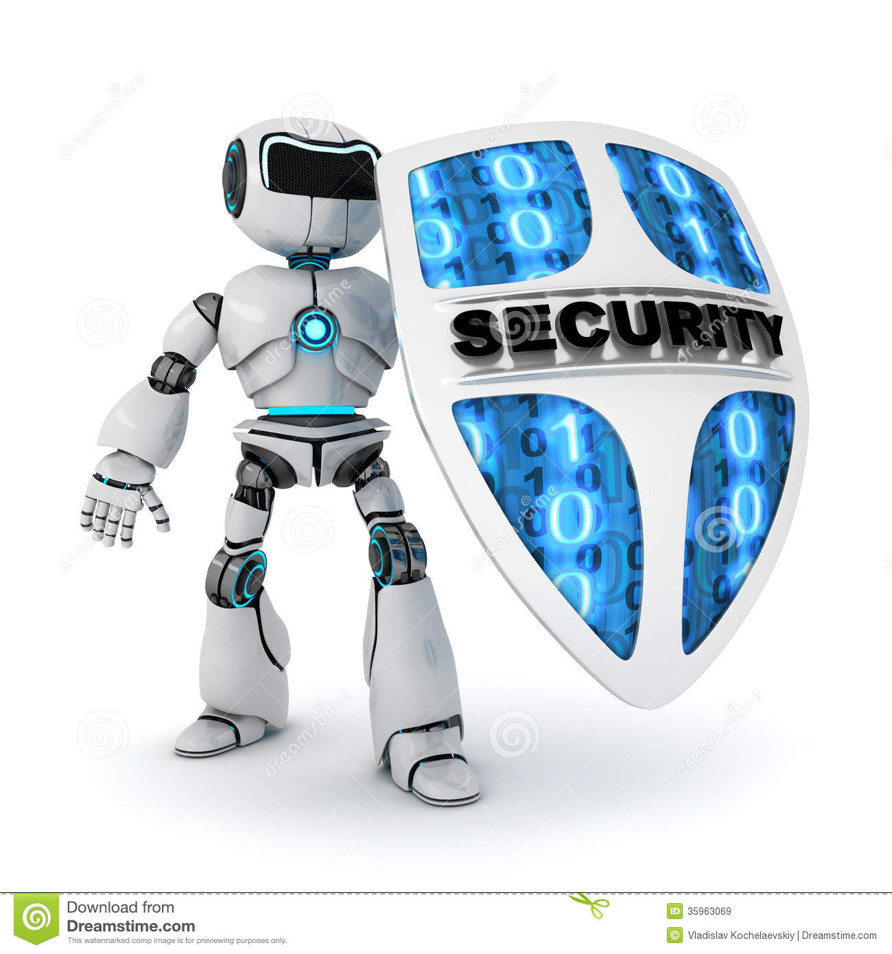 Robot And Shield Stock Illustration Image Of Concept