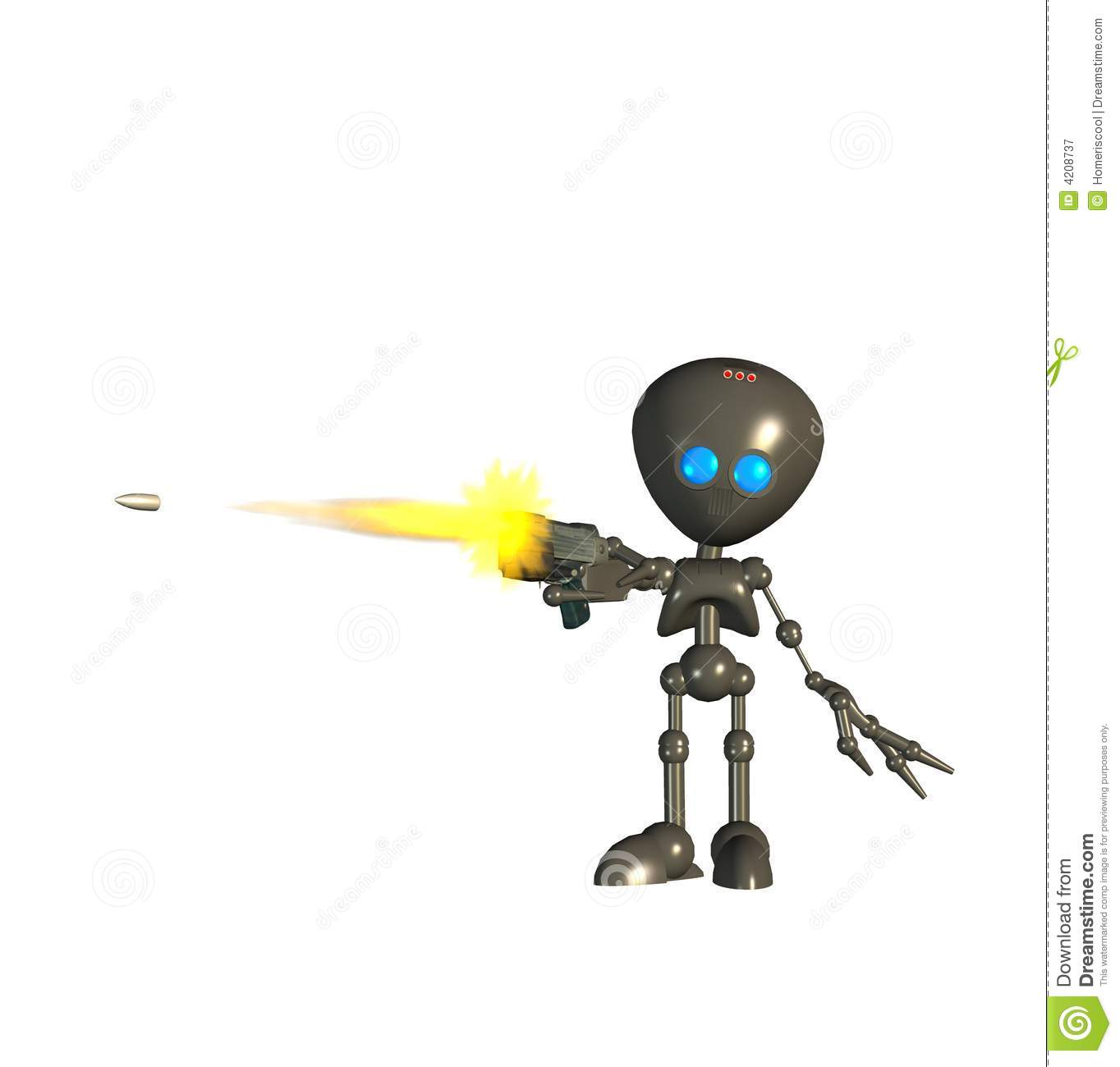 robot shooting a gun stock illustration image of