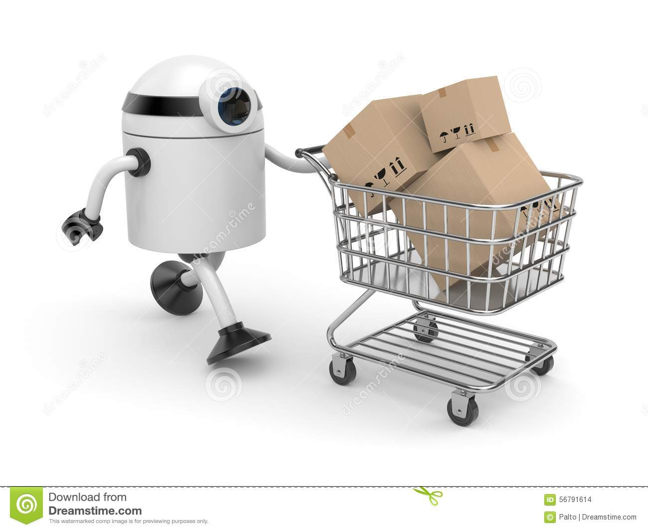 Robot with shopping cart stock illustration  Illustration of