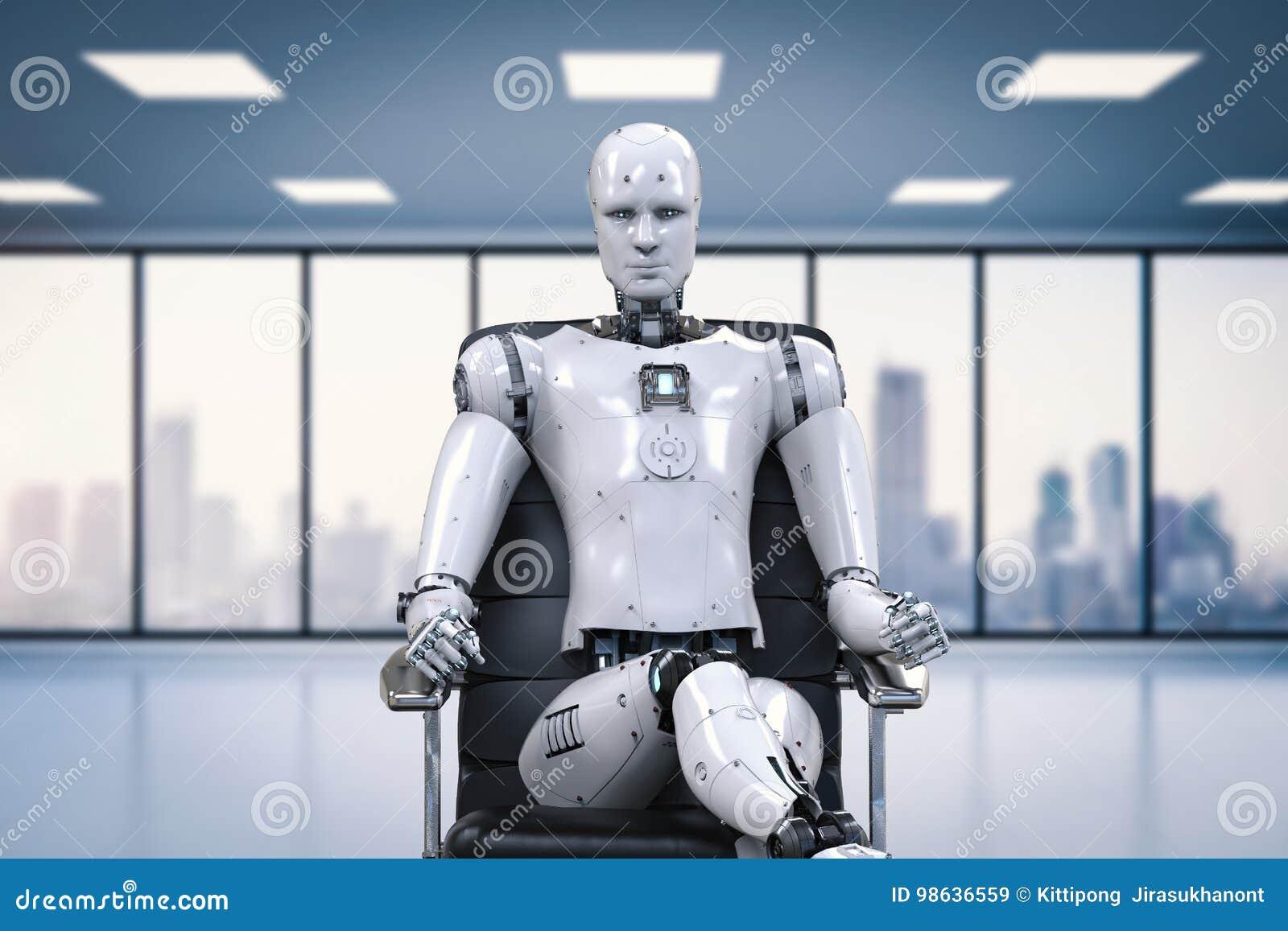 Robot siedzi na biurowym krześle