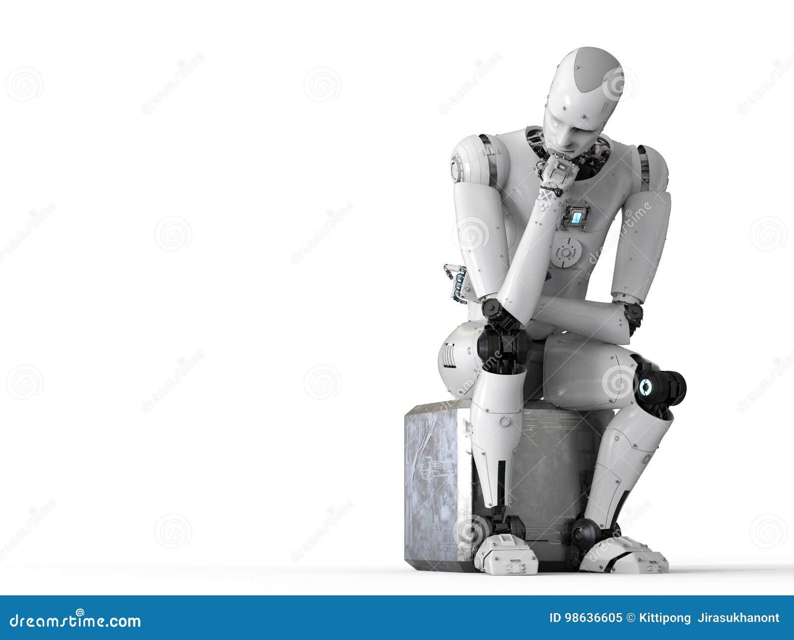 Robot siedzi puszek i główkowanie