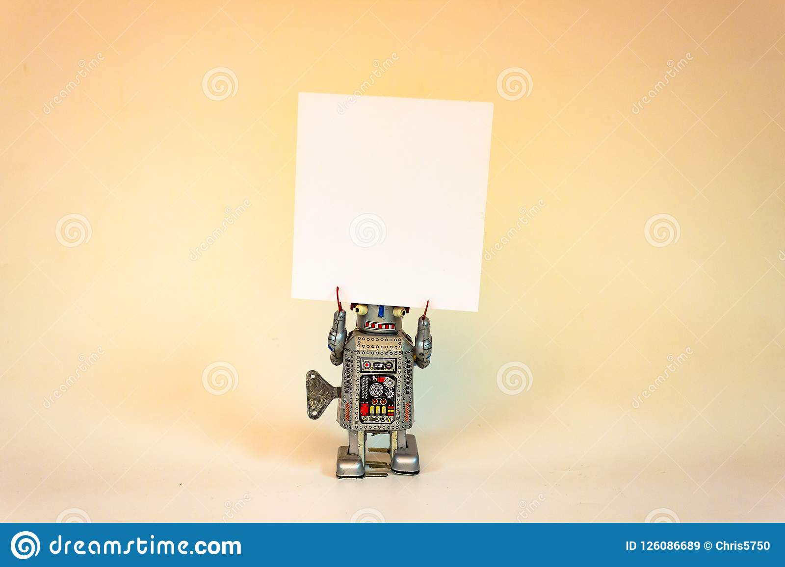 Robot with Sign for copy stock image  Image of holding