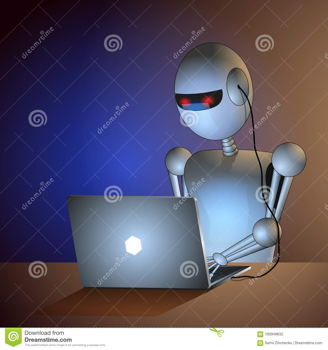 Robot Sits At The Desk Connected To The Computer  Firmware  Stock