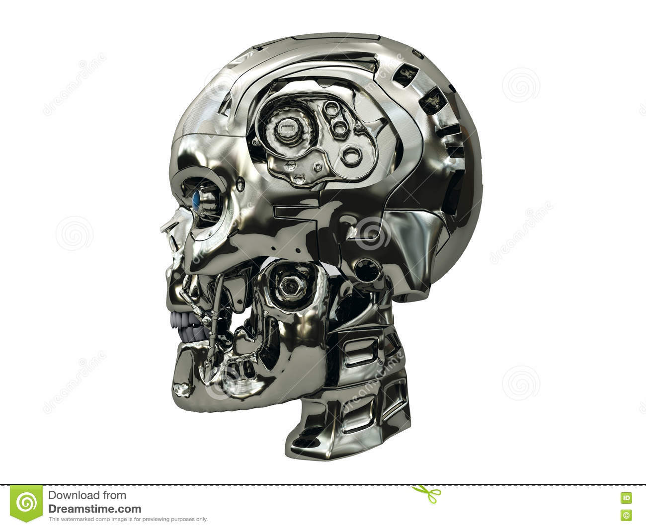 Robot skull with metallic surface and blue glowing eyes on side view