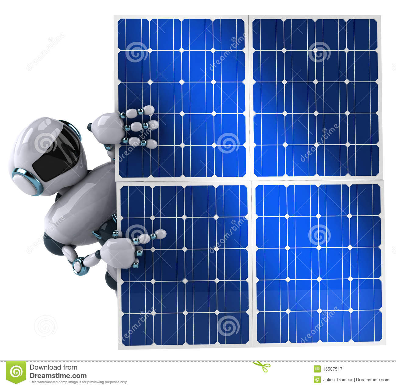 Robot And Solar Panel Stock Illustration Image Of