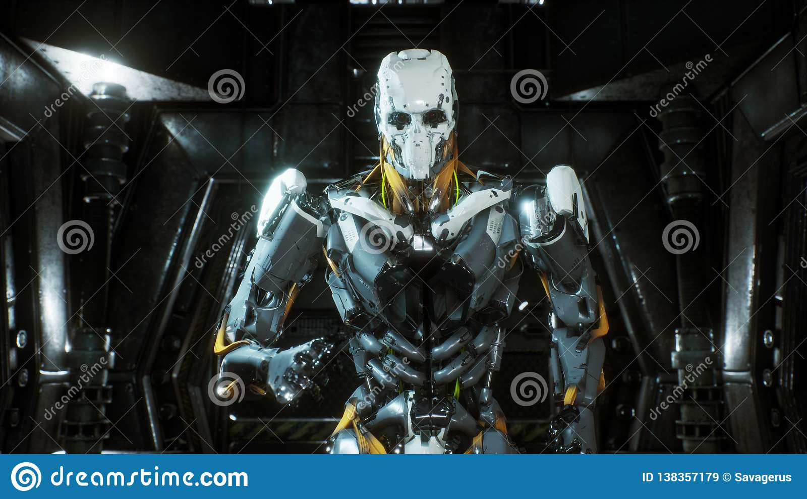 Robot soldier runs through a futuristic Sci-Fi tunnel with sparks and smoke, interior view. 3D Rendering