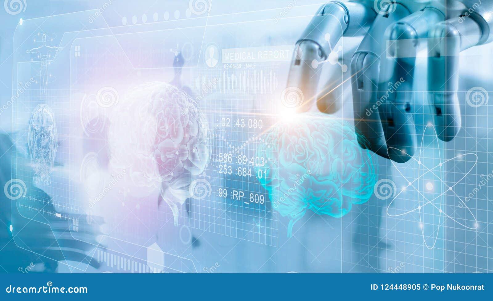 Robot som kontrollerar hjärnprovningsresultat med datormanöverenheten