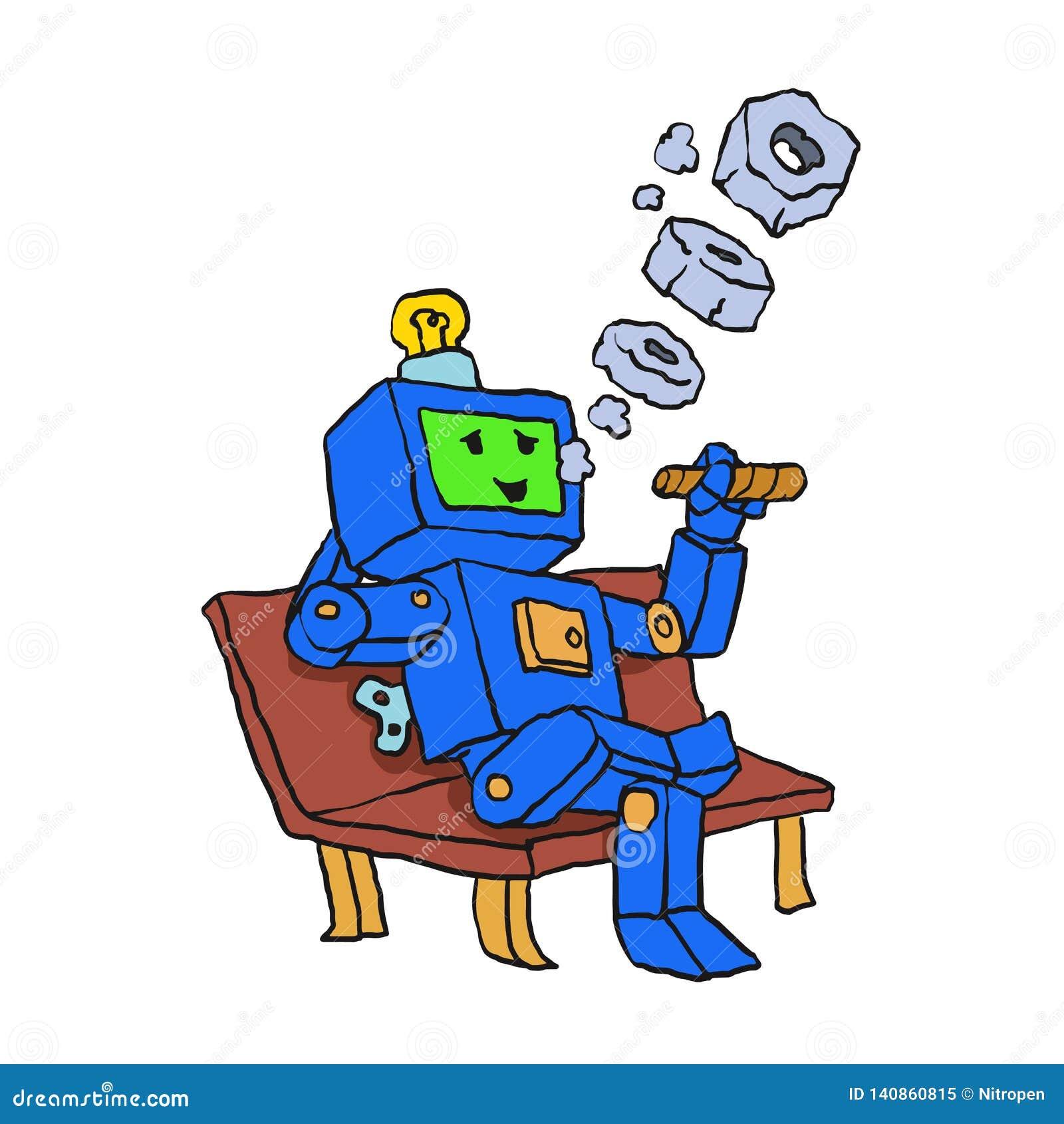 Robot som röker cigarrtecknade filmen