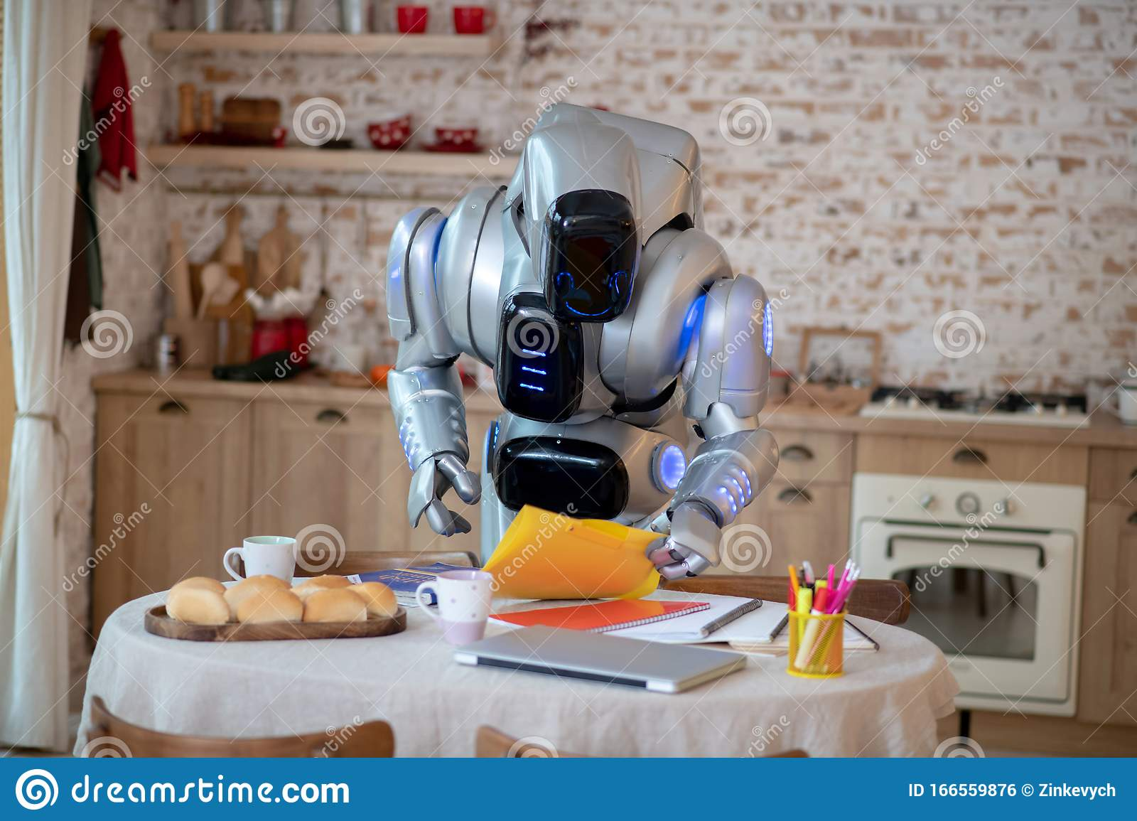 Robot Standing Near The Table In The Kitchen Stock Photo Image Of Science Holding 166559876
