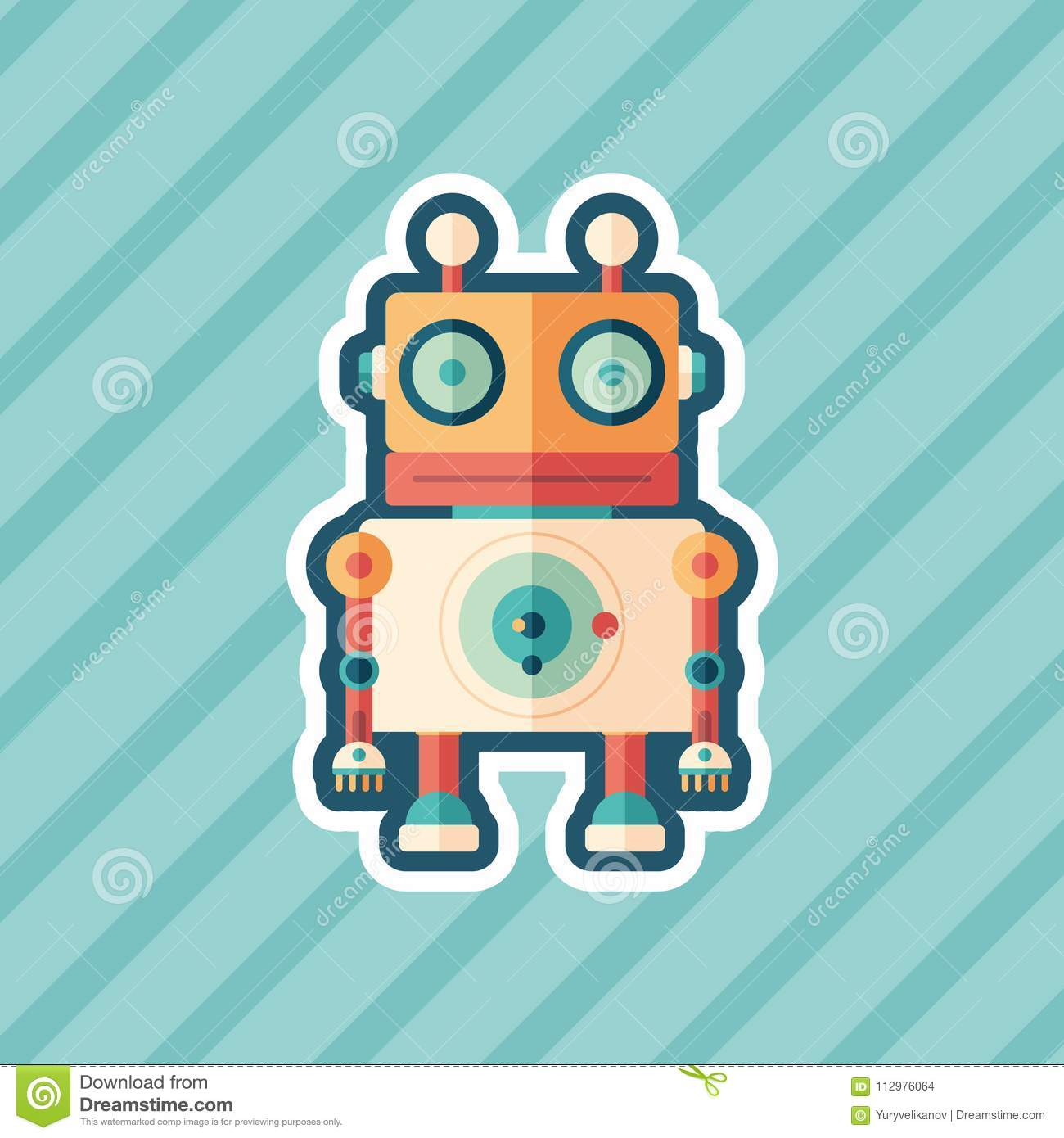 Robot stargazer sticker flat icon with color background.