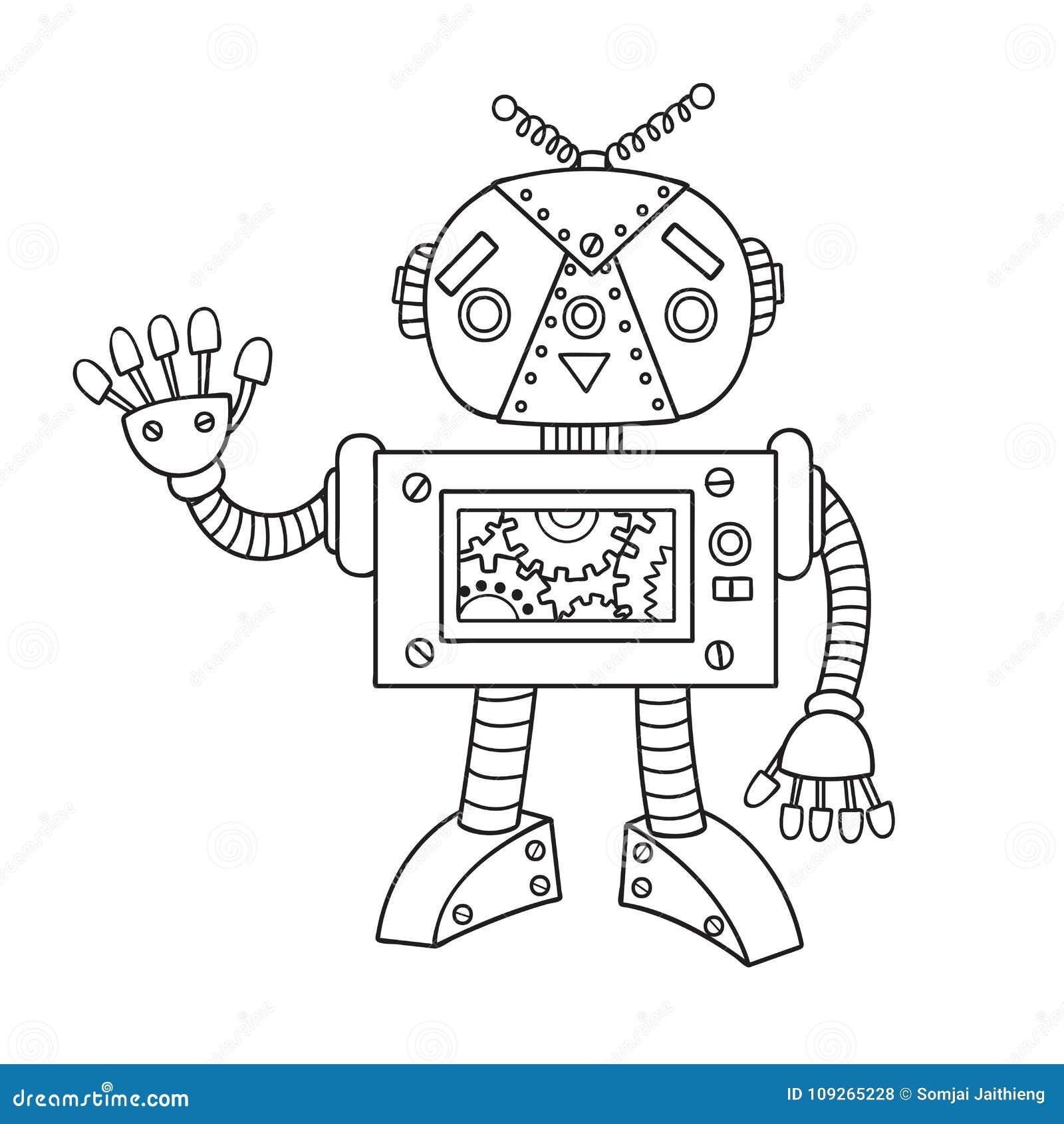 Robot Sveglio Disegnato A Mano Per L Elemento Di Progettazione E