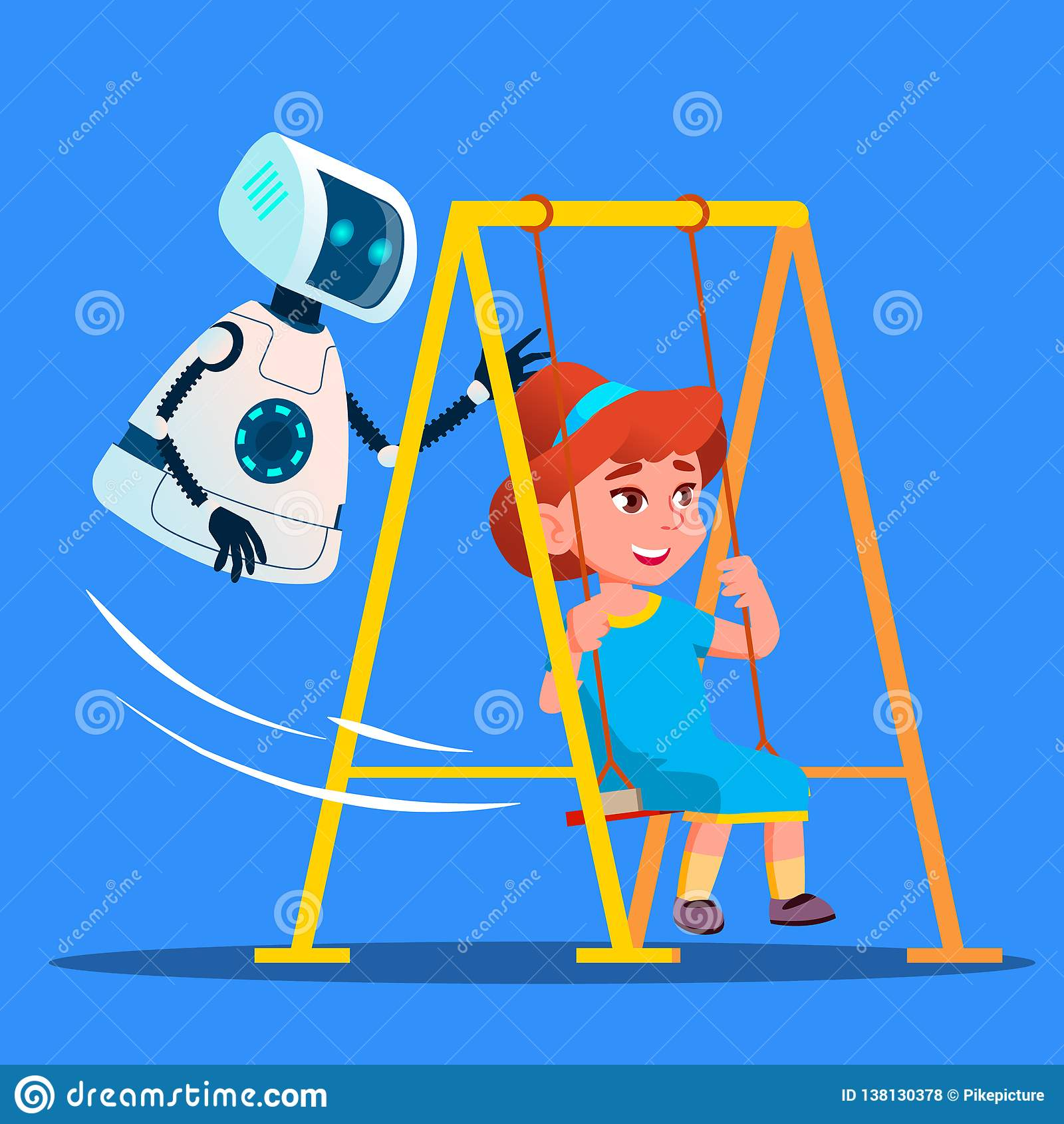 Robot Swinging Little Girl On Swing On Playground Vector. Isolated Illustration
