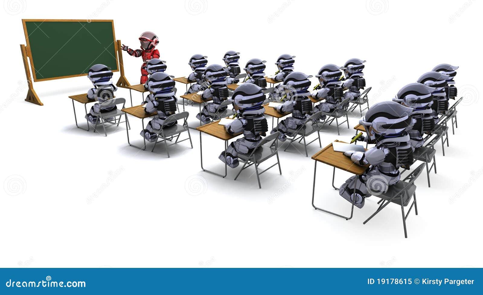 Robot teacher in classroom